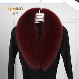 Discount men real fur scarves Luxury Fur Collar Men and Women Winter Fur Scarf Long Section Real Collar Leather Black White Scarfs Scarves