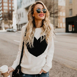 Wholesale womens jumpers for sale - Group buy Womens Sweaters Contrast Color Love Heart Pullovers Autumn Loose Sweet Knitted Jumpers Female Casual Knitting Sweaters Plus Size