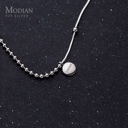 sterling silver collar choker necklace NZ - Modian Authentic 925 Sterling Silver Coin Engraved Lucky Little Ball Pendant Necklace for Women Chokers Necklace Fine Jewelry F1202