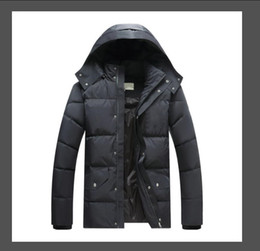 chaqueta negra para hombre al por mayor-Topstoney Heated Winter Lightweight Chaqueta con capucha de la chaqueta de moda casual Chaqueta con capucha Cap de capucha Negro Puffer Chaqueta Hombre Abrigo Tamaño M XXL