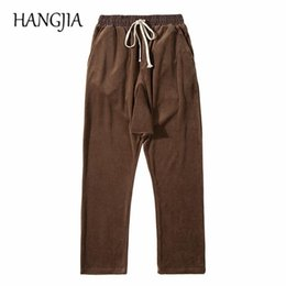 braun pluderhose großhandel-Brown Black Velours Harem Hosen Hip Hop Drop Crotch Samt Joggyhosen Modische Herren Baggy Sweat Hose Herbst und Winter