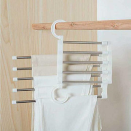 Wholesale 5 Layers Multi Functional Clothes Hangers Pant Storage Cloth Rack Trousers Hanging Shelf Non-slip Clothing Organizer Storage Rack Fast Ship