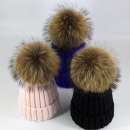 fur hats for kids NZ - Parent-child Winter Women Knitted Beanie Real Raccoon Fur Pompom Hat for Female Kids Warm Chunky Thick Stretchy Hats