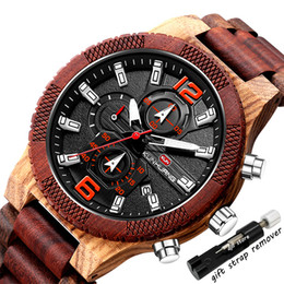 Discount acrylic calendar Luxury Wood Watch for Men Multifunctional Calendar Date Military Mens Wooden Band Man Sandalwood Male Wristwatch Creative NEW Quartz Watches
