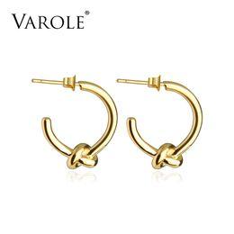 VAROLE Wholesale Classic Knot Earings Round Gold Color Stud Earrings For Women Jewelry Oorbellen Ohrringe Earring Brincos on Sale