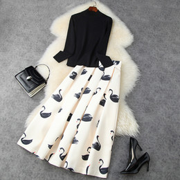 Wholesale long sleeve black peplum tops for sale - Group buy 2020 Fall Long Sleeve Round Neck Black Knitted Sweater Top Swans Print High Waist Mid Calf Peplum Skirt Two Piece Pieces Set LN2211614