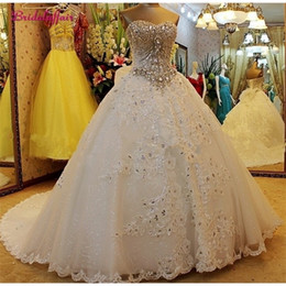 shiny wedding dress sweetheart 2021 - Luxury Pearls Dress a line Shiny Sweetheart Corset Wedding Dresses 2020 Customized Plus Size Bridal Gown Q1113