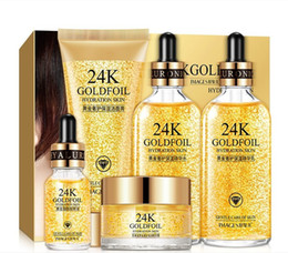 24K Gold Skin Care Set 5 PCS With Box Face Essence Cream Facial Cleanser Kit For Womens on Sale