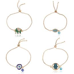 Wholesale Fashion Enamel Good Luck Elephant bracelets For women Hamsa Hand Love Letter Turkey Blue Evil Eye charm Gold chains Bangle Jewely 81 K2