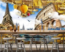 tower wallpapers UK - Free Shipping Vintage Architecture Photo Wallpapers Eiffel Tower Roman City Custom 3D Mural Wall Bar Restaurant Mural Wallpaper1