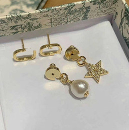 letter star pearl earrings High version silver needle simple fashion Advanced Internet celebrity earrings on Sale