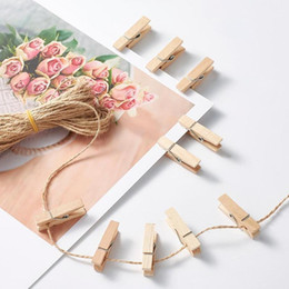 Wholesale paper cords for sale - Group buy 1set Paper Tags Card Label Display With Hemp Cord Rectangle Heart Blank Wooden Pegs Clips Wedding Party Gifts jllZCG