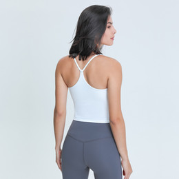 L-97 Women Tank Tops for Yoga Workouts Fitness Sports Shirts Sexy Vest Quick Dry Breathable Gym Tops U Shape Neck Soft New Slim fit T-Shirt on Sale