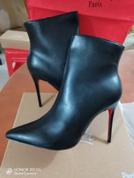 2019 Luxo preto de couro vermelho com picos pontas dedos dos dedos das mulheres botas do tornozelo de moda desenhador de moda senhoras vermelhas fundo de salto alto de salto alto Bombas DH em Promoção