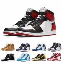 Großhandel NIKE air Jordan 1 RETRO 2019 neue High OG Mid Herren 1 Basketball-Schuh-Spiel Royal Gebannt Schatten Schwarz Toe Bred Rot Blau Weiß Schuh Günstige 1s Chicago Sportschuhe TA05