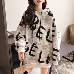 Wholesale hoodies women models for sale - Group buy Hoodie Print Letter Pattern Pullover Long Sleeve Inelastic Mid Length Single Hooded Neckline Loose Model