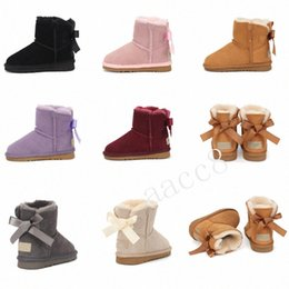 2021 Fashion Children's Shoes AustraliaUGG Womens Girls Snow Boots with Bows Kids Winter Boots Shoes EUR 30-42 L0c7#