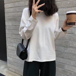 college t shirts Australia - Winter Women's Solid Casual Long-Sleeved Warm All-match White T-shirt 2020 College StyleWith a Loose Korean Top Long Sleeve