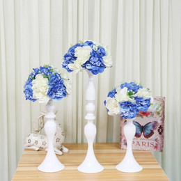 Discount white candelabra wedding Metal Candle Holders Flowers Vase Stand Candlestick 50cm White Candle Holder Floor Vase Candelabra Wedding Table Centerpieces 03 Y200109