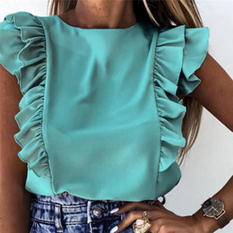 Wholesale tops for women resale online - 2021 Summer Women s Ruffle Blouse Short Sleeve O Neck Elegant Office Ladies Shirt Tops Fashion Casual Solid Top Shirts For Women