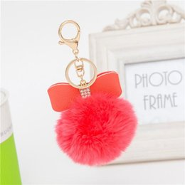 Discount hand make women handbags 7mm Bow Rhinestone Handbag Ball Rabbit Fur Pom Pom Fluffy Keychain Car Blue Red Plush Man Made Rabbit Key Holder Ring Wo