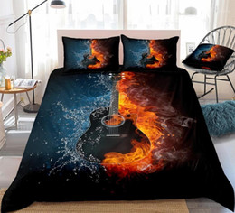 musical bedding sets UK - 3D Black Guitar Duvet Cover Set Guitar on Fire and Water Quilt Cover Black Musical Instruments Bed Set King 3pcs Music Dropship1