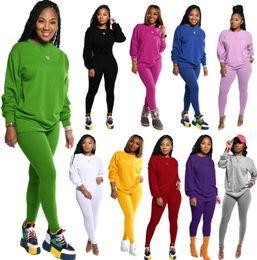 Wholesale yellow sports suit resale online – Women Tracksuits Designer Two Piece Outfits Solid Color Long Sleeve Pants Ladies New Casual Autumn Sport Suits Plus Size Sportwear