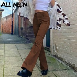 Wholesale 90s outfits for sale – custom Allneon Indie Aesthetics Slim Brown Flare Jeans Y2k Vintage Solid High Waist Moms Pants s Fashion Denim Trousers E girl Outfit
