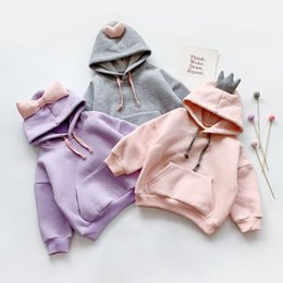 cute girl hoodie NZ - hoodies for girls 2019 New Autumn Winter Warm Baby Girls Clothes Cotton Hooded Sweatshirt Children Kids Casual Cute Bow Tops F1202