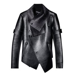 Tide brand irregular design leather jacket men plus velvet winter personality trend youth motorcycle jacket slim warm outwear !