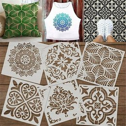 mandala painting 2021 - 6PCS Mandala Template Stencil Set Wall Tile DIY Hollow Out Making Furniture Painting Card Home Decoration