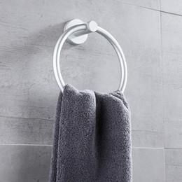 Toptan satış Sondaj Havlusu Yüzük Dairesel Tutucu Alüminyum Alaşım Duvar Otel Boyama Banyo Aksesuarları Beyaz Taşınabilir Yüksek Kalite 9MJ L2