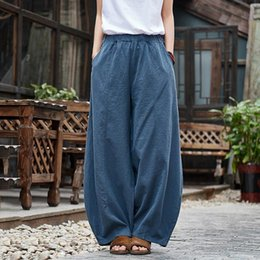 Wholesale scrub pants resale online – designer Fashion cotton and linen women s product National style scrub beautiful women s trousers lantern pants sweatpants women baggy