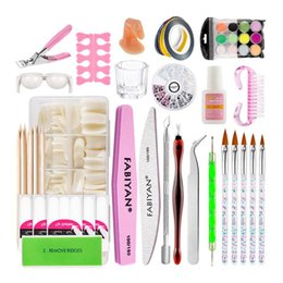 new tool kit 2020 - New 39Pcs Nail Art Kit Acrylic Powder Crystal Decoration French Stickers Buffer File Brush Manicure Cuticle Pusher Care