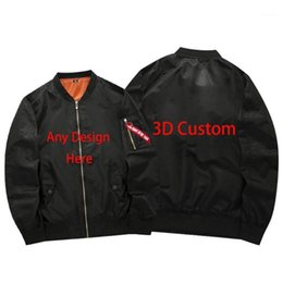 Wholesale customize jackets for sale - Group buy Custom Photo And DIY Design Team Logo Printed Customized D Custom Bomber Jacket Windproof Autumn and Winter Pilot Jacket1