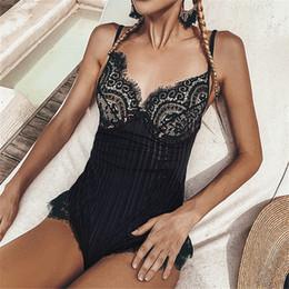 Wholesale black high waisted one piece online – Sexy Black Lace Swimsuit One Piece Ladies Monokini Ruffled High Waisted Swimwear Women Swim Bathing Suit Trikini