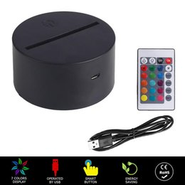 Wholesale RGB USB Cable Touch Lamp LED Lamp Base 3D Night Light Acrylic Plate Panel Holder Remote USB Cable