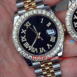 venda por atacado Moda Rose Gold Aço Inoxidável Mens Diamantes Diamantes Mens Gelado Out Dsigner Mecânica Mecânica Movimento Automático Assista Reloc WristWatches