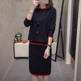 Wholesale new look fashion dress for sale - Group buy 2019 New Large Women s Clothing Autumn Winter Fashion Net Red Sweater Suit Looks Thin and Fat Sister Two Piece Knitted Dress X2H7
