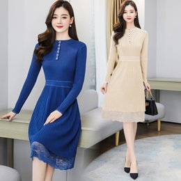 Wholesale new look fashion dress resale online - Elegant Lace Patchwork Knitting Women s Winter New Fit Slim Looking Graceful Fashion Midi Dress