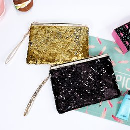 wholesale designer purse bag NZ - Sequin Glitter Mini Zipper Earphone Coin Wallet Girls Christmas Party Bag Mermaid Sequin Clutch Cosmetic Coin Purse Storage Bag 49 L2