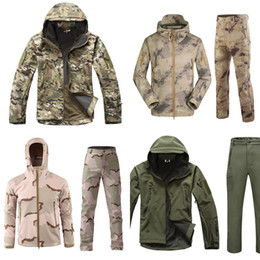 Wholesale windbreaker tactical jacket for sale - Group buy Winter Tactical Softshell Camouflage Jacket Set Men Army Windbreaker Waterproof Clothing Suit Army Military Jacket Fleece Coats Z1210