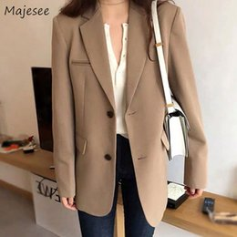 Wholesale korean fashion blazers resale online - Blazer Women Plus Size Solid Elegant Office Ladies Classic Womens Blazers Casual Long Single Breasted Korean Fashion Clothing X1214
