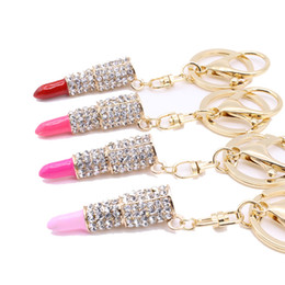 diamond key ring fashion 2021 - Fashion Diamond Lipstick Keychain lovely Party Gift Creativity Jewelry Metal Crystal Lipstick Keychains Bag Car Accessor