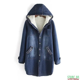 Wholesale hooded jean jackets for sale – winter 2020 Autumn Winter Denim Jacket Women Warm Hooded Jeans Coat Plus Size XL Casual Female Long Denim Windbreaker Outerwear A455