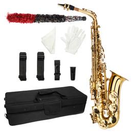 Опт Профессиональный E-Flat Alto Saxophone окрашенная золотая труба резной латуни высокого качества Alto Saxophone с коробкой и перчатками очистки ткани смазки