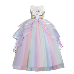 Wholesale unicorns costume resale online - 2020 Teenager Girls Long Prom Gown Unicorn Mesh Cake Fluffy Princess Dress Halloween Festival Party Kids Costume Children Wear Y1220