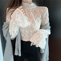 Wholesale korean women long sleeve tops lace for sale - Group buy Korean Solid Long Sleeve Women Chiffon Tops And Blouses Ladies Vintage Casual Turtleneck Lace Flare Sleeve Shirts Blusas Mujer