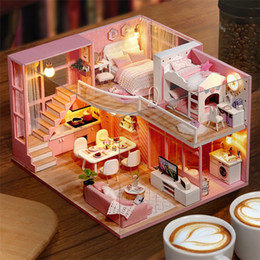 miniature christmas toys UK - DIY Doll House Wooden doll Houses Miniature dollhouse Furniture Kit Toys Casa for children Christmas Gift L026 201217