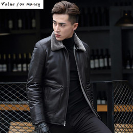 Wholesale wool leather jacket for sale - Group buy Jacket Leather Men Winter Natural Wool Fur Liner Sheepskin Coat for Men Real Fur Warm Leather Jackets T KJ1398